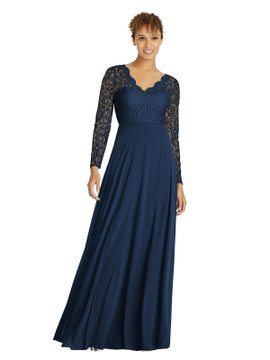 Long Sleeve Illusion-Back Lace and Chiffon Dress by Dessy Bridesmaid 3034 in 64 colors