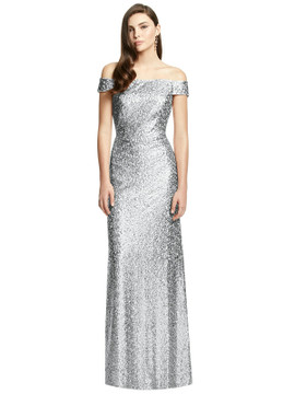 Off-the-Shoulder Open-Back Sequin Trumpet Gown By Dessy Bridesmaid 3002 in 3 colors