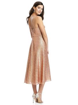 Spaghetti Strap Flared Skirt Sequin Midi Dress By Dessy Bridesmaid 3067 in 7 colors
