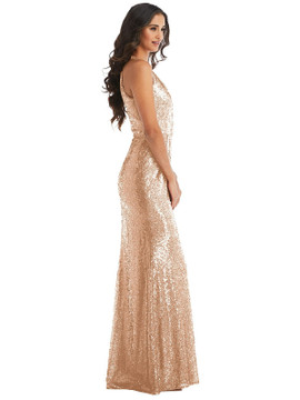 Halter Wrap Sequin Trumpet Gown with Front Slit By After Six 6846 in 7 colors