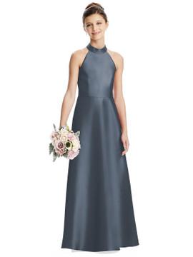 Halter Open-back Satin Juniors Dress with Pockets Junior Bridesmaid JR550