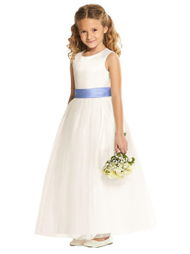 Dessy Flower Girl Dress FL4002 in Ivory & White with Sash
