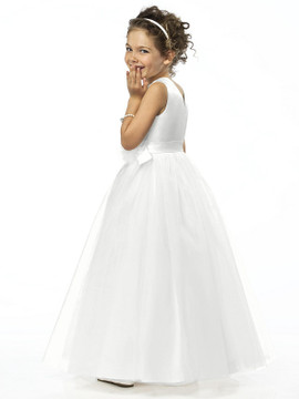 Dessy Flower Girl Dress FL4030  in Ivory & White