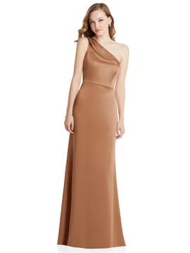 Shirred One-Shoulder Satin Trumpet Dress - Maddie Lovely Style LB028