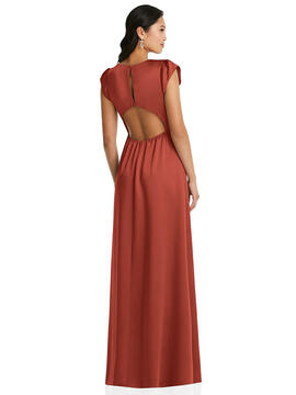 Shirred Cap Sleeve Maxi Dress with Keyhole Cutout Back Social Style 8208