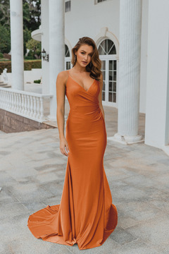 Lima PO901 Evening Dress by Tania Olsen in Burnt Orange
