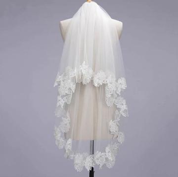 Romantic Lace Applique Double Layer Veil 1.5M