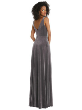 Velvet Maxi Dress with Shirred Bodice and Front Slit by Thread Bridesmaid Style TH085 in 9 colors