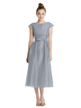 Cap Sleeve Pleated Skirt Midi Dress with Bowed Waist TH067 By Thread Bridesmaids in 22 colors