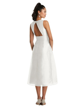 Bateau Neck Open-Back Pleated Skirt Midi Dress TH066 By Thread Bridesmaids in 22 colors
