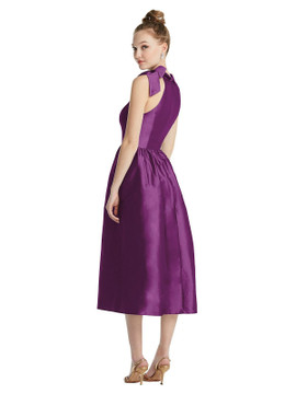 Bowed High-Neck Full Skirt Midi Dress with Pockets TH075  By Thread Bridesmaids in 32 colors