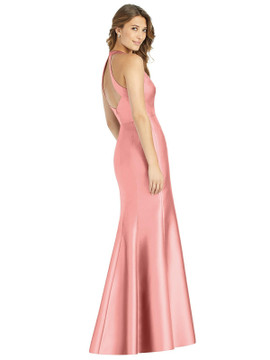 V-Neck Halter Satin Trumpet Gown By Alfred Sung D761 in 36 colors
