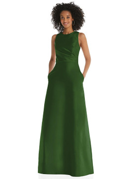 Jewel Neck Asymmetrical Shirred Bodice Maxi Dress with Pockets By Alfred Sung D819 in 36 colors in celtic