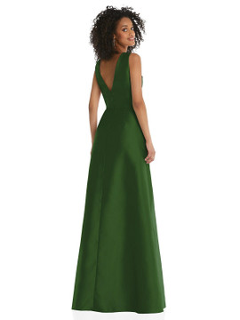 Jewel Neck Asymmetrical Shirred Bodice Maxi Dress with Pockets By Alfred Sung D819 in 36 colors