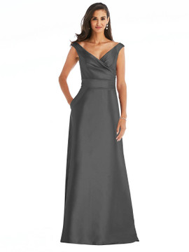 Off-the-Shoulder Draped Wrap Satin Maxi Dress By Alfred Sung D811 in 36 colors in gunmetal