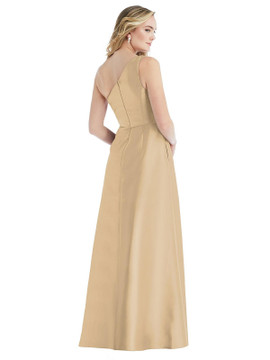 Pleated Draped One-Shoulder Satin Maxi Dress with Pockets By Alfred Sung D821 in 36 colors