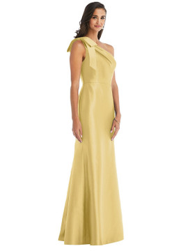 Bow One-Shoulder Satin Trumpet Gown By Alfred Sung D794 in 36 colors in Maize