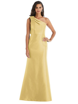 Bow One-Shoulder Satin Trumpet Gown By Alfred Sung D794 in 36 colors