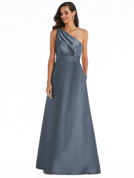 Draped One-Shoulder Satin Maxi Dress with Pocket By Alfred Sung D815 in 36 colors in silverstone
