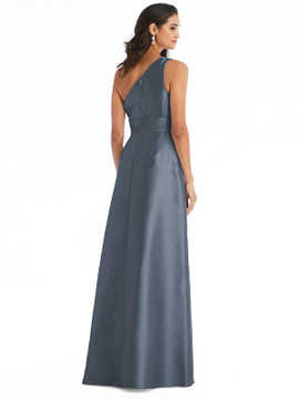 Draped One-Shoulder Satin Maxi Dress with Pocket By Alfred Sung D815 in 36 colors