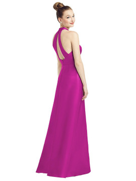 High-Neck Cutout Satin Dress with Pockets By Alfred Sung D772 in 36 colors