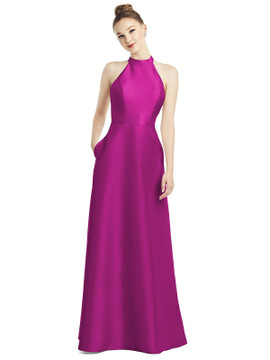 High-Neck Cutout Satin Dress with Pockets By Alfred Sung D772 in 36 colors in American Beauty