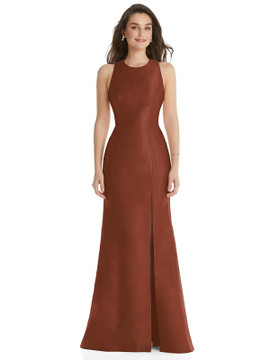 Jewel Neck Bowed Open-Back Trumpet Dress with Front Slit By Alfred Sung D824 in 36 colors in Auburn Moon