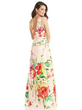 Blush Pink Floral Jewel Neck Asymmetrical Ruched Bodice Maxi Dress By Alfred Sung D819FP  in blush bouquet