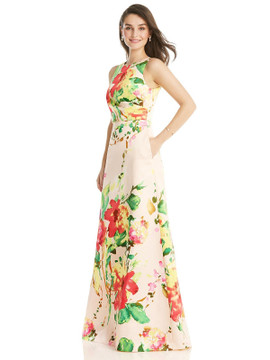 Blush Pink Floral Jewel Neck Asymmetrical Shirred Bodice Maxi Dress By Alfred Sung D819FP  in blush bouquet