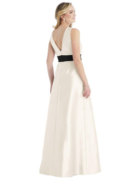 High-Neck Bow-Waist Maxi Dress with Pockets By Alfred Sung D803 in 36 colors