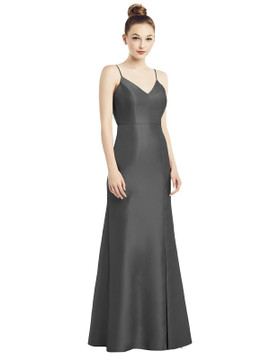 Open-Back Bow Tie Satin Trumpet Gown by Alfred Sung D780 in 33 colors