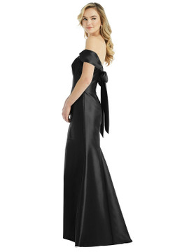 Off-the-Shoulder Bow-Back Satin Trumpet Gown by Alfred Sung D793 in 33 colors