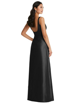 Pleated Bodice Open-Back Maxi Dress with Pockets by Alfred Sung D795 in 33 colors