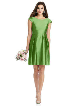 Cap Sleeve Pleated Skirt Cocktail Dress with Pockets By Alfred Sung D783 in 33colors in Appletini