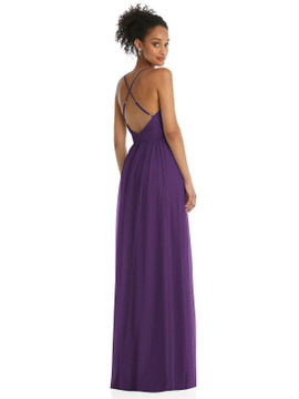 Illusion Deep V-Neck Tulle Maxi Dress with Adjustable Straps by Thread Bridesmaid style TH062 available in 8 colors