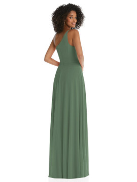 One-Shoulder Chiffon Maxi Dress with Shirred Front Slit by After Six Bridesmaid style 1555 available in 63 colors