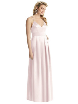 Pleated Skirt Satin Maxi Dress with Pockets By After Six 1521 in 74 colors shown in Honeysuckle