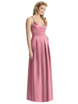 Pleated Skirt Satin Maxi Dress with Pockets By After Six 1521 in 74 colors