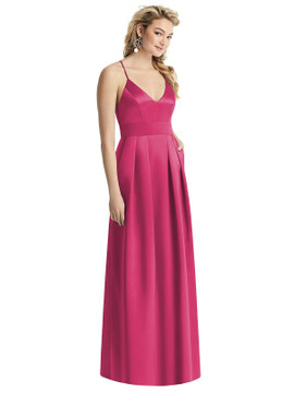 Pleated Skirt Satin Maxi Dress with Pockets By After Six 1521 in 74 colors in Shocking