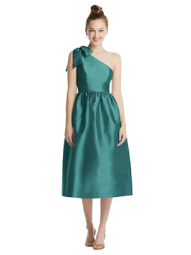 Bowed One-Shoulder Full Skirt Midi Dress with Pockets TH079 By Thread Bridesmaids in 32 colors in Treasure