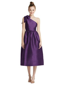 Bowed One-Shoulder Full Skirt Midi Dress with Pockets TH079 By Thread Bridesmaids in 32 colors