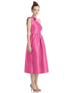 Bowed One-Shoulder Full Skirt Midi Dress with Pockets TH079 By Thread Bridesmaids in 32 colors in Strawberry