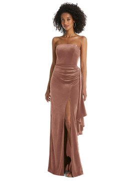 Strapless Velvet Maxi Dress with Draped Cascade Skirt by After Six style 6850 in 9 colors