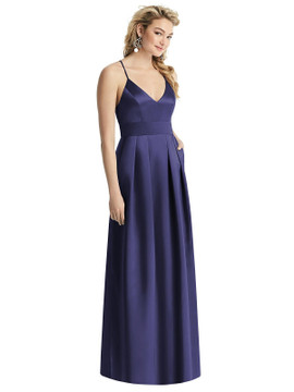 Pleated Skirt Satin Maxi Dress with Pockets By After Six 1521 in 74 colors in amethyst