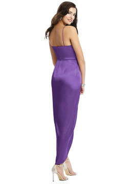Faux Wrap Midi Dress with Draped Tulip Skirt style 6828 available in 37 colors in Pansy