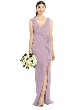 Sleeveless Ruffled Wrap Chiffon Gown by  After Six 1528 in 64 colors