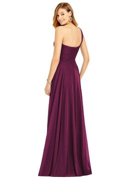 One-Shoulder Draped Chiffon Maxi Dress - Dani Thread Bridesmaid Style TH025 in 64 colors shown in Ruby