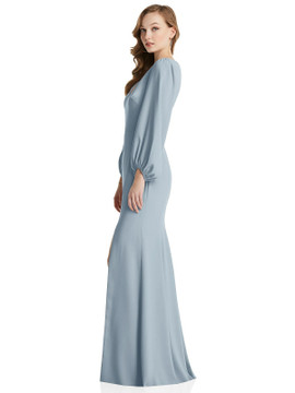 Long Puff Sleeve V-Neck Trumpet Gown Dessy Collection Style 3083 available in 35 colors