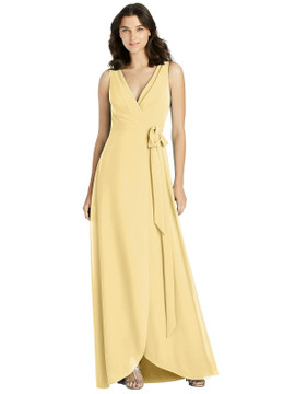 Sleeveless Tulip Skirt Wrap Maxi Dress with Sash By Jenny Packham Dress JP1025 in 38 colors shown in Buttercup