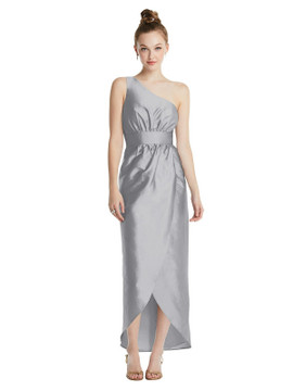 One-Shoulder Shirred Tulip Skirt Midi Dress TH073 By Thread Bridesmaids in 32 colors